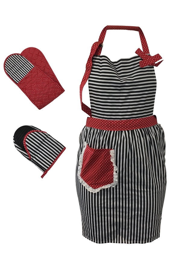 Vintage style apron and oven mitt set