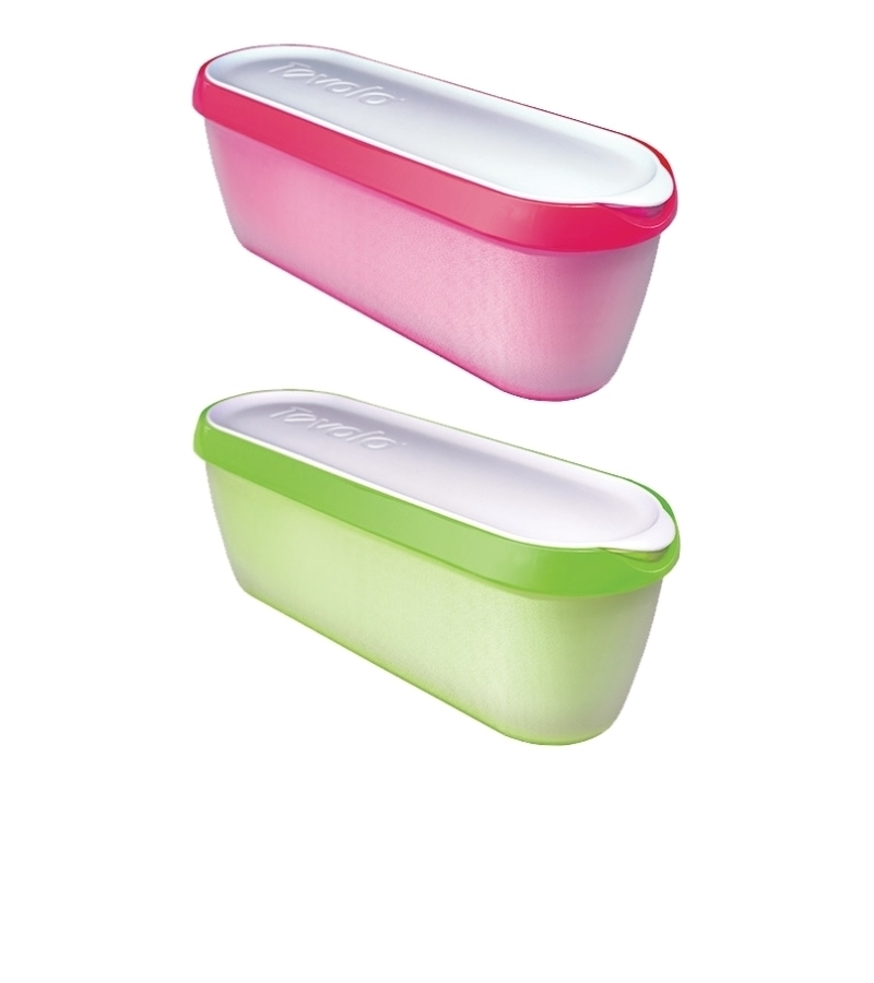 Pack of two Glide-A-Scoop  Ice Cream Tubs (green and pink)