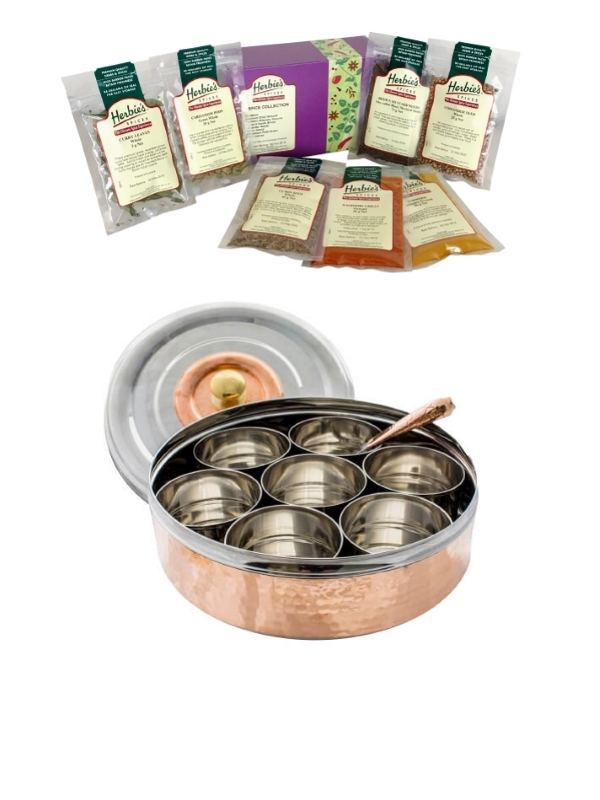 Masala dabba and Indian spice pack